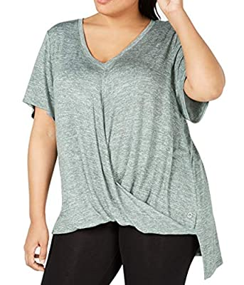 Calvin Klein Performance Womens Plus Draped V-Neck T-Shirt Green 1X