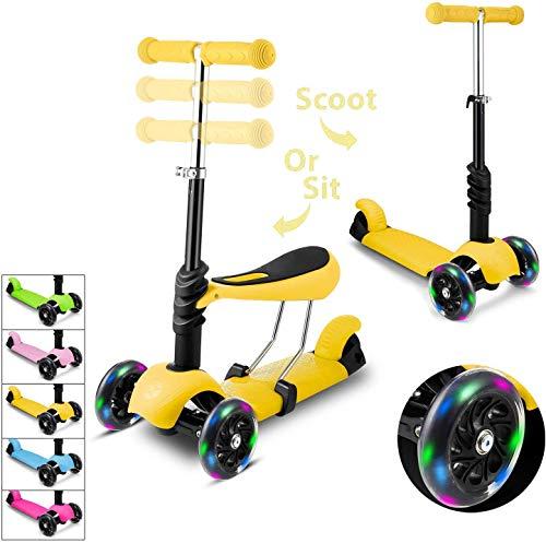 monopattino elettrico per bambini Hikole Monopattino a 3 Ruote per Bambini con Sedile età 3 Ruote Kick Scooter con Ruote a LED