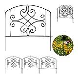 Relaxdays - Valla Decorativa para jardín (4 Piezas, Metal, 32 x 186 cm), Color Negro