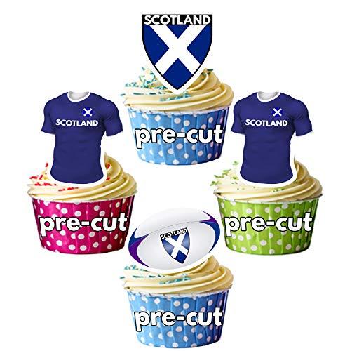 AK Giftshop PRECUT Rugby Shirt Ball Flag Team Schotland - Eetbare Cupcake Toppers/Cake Decoraties (Pak van 12)
