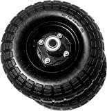 AFT PRO USA 2-Pack 10' Flat Free Tires Air Less Tires Wheels with 5/8' Center - Solid Tire Wheel for Dolly Hand Truck Cart/All Purpose Utility Tire on Wheel (Black)