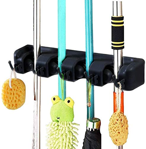 Broom Mop Holder, Broom Organizer Wall Mount, Heavy Duty Wall Mounted Mop Clip Hangers Broom Storage Tidy Organizer with 4 Racks 5 Retractable Hooks for Closet Kitchen Garden Garage Bathroom