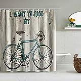 AIKIBELL Personalisierter Duschvorhang,Ich möchte Mein Fahrrad Blue Bike Image auf rustikalem Holz Fahren,wasserabweisender Badvorhang für das Badezimmer 180 x 180cm