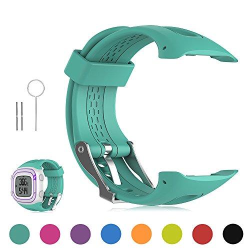 FESKIO - Correa para reloj deportivo Garmin Forerunner 10/Forerunner 15GPS, de silicona suave (tamaño grande/pequeño), S/Women Size, Verde azulado