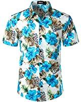 JOGAL Men's Flower Casual Short Sleeve Aloha Hawaiian Shirt XX-Large Blue