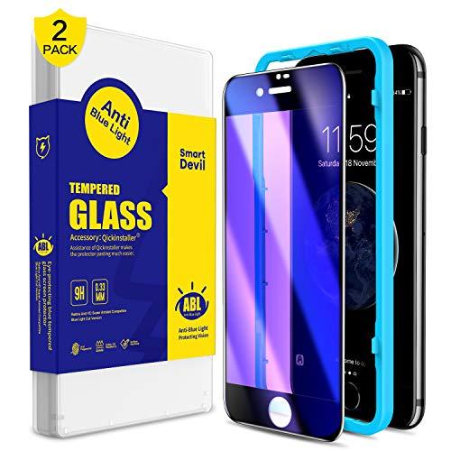 SmartDevil [2 Stück für iPhone SE 2020/8/7 Panzerglas Schutzfolie, Anti Blaulicht Schutzfilm, 3D-Volldeckung, 9H-Härte, Anti-Kratzen, Displayschutzfolie mit Positionierhilfe [4.7 Zoll]