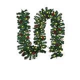 Bzuitur - Guirnalda navideña con cifrado de 8,8 pies con luces de piñas de Navidad, bayas rojas para la decoración de invierno de puerta de escaleras de chimenea