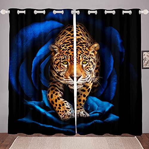 Cortinas de Leopardo para Ventana, de Pantera de Safari niños, 3D, de Leopardo,de Ventanas, Cortinas de Ventana con Rosas Azules, 52 x L90