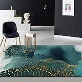 CMwardrobe Moderno Alfombra Antideslizantes Pelo Corto Rug Línea Dorada Tinta Abstracta Verde Abstracto Salón Dormitorio Moqueta 160×280CM