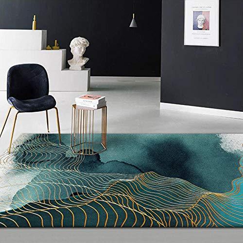 CMwardrobe Moderno Alfombra Antideslizantes Pelo Corto Rug Línea Dorada Tinta Abstracta Verde Abstracto Salón Dormitorio Moqueta 120×160CM
