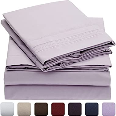 Mellanni Bed Sheet Set - Brushed Microfiber 1800 Bedding - Wrinkle, Fade, Stain Resistant - Hypoallergenic - 4 Piece (Queen, Lavender)