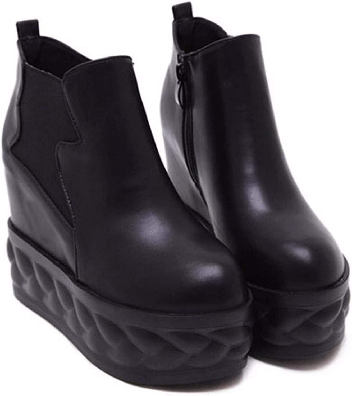 HBDLH Damenschuhe Hang Ferse Kurze Stiefel Stiefel Stiefel Heel 11 cm Innere Erhöhen 100 - Sets Muffin - Schuhe Winter Flanell Dicke Sohle Martin Stiefel Und Stiefeletten  945231