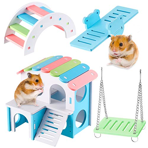 4 Stücke Schöne Hamster Spielzeug Blockhaus für Hamster Ökologische Holz Regenbogen Brücke Wippe Schaukel DIY Ferienhäuser Klettern und Spielen Spielzeug Kleintier Spielzeug