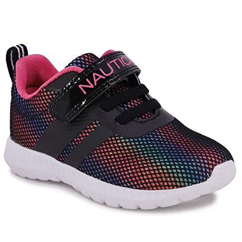 Nautica Kids Boys Fashion Sneaker Athletic Running Shoe with Stap for Toddler and Little Kids-Towhee-Black Rainbow-5