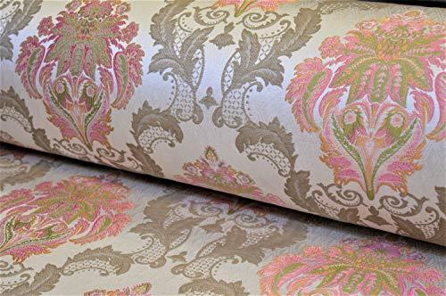 Möbelstoff Bezugsstoff Polsterstoff Barock Vintage Sofa Ranken Ornament (weiß rosa beige Creme blau)