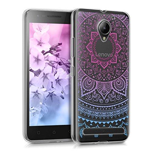 """kwmobile Hülle kompatibel mit Lenovo C2 (5\"""") - Handyhülle - Handy Case Indische Sonne Blau Pink Transparent"""