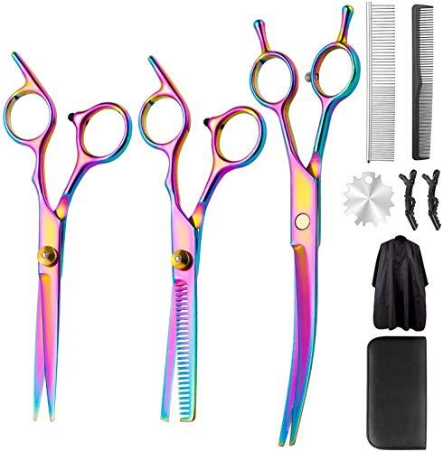 Haarschere Profi Friseurscheren Set, Premium Haarschneideschere 10 Stück Zahnschere und Scharfe Friseurschere ausdünnen für Damen und Herren Für Männer Frauen Kinder Haustier