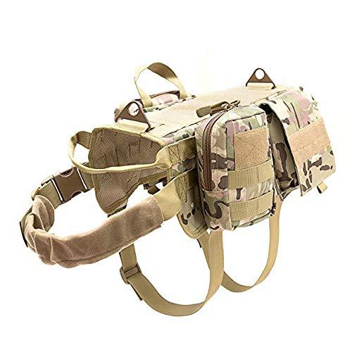 Enhome Service Hundeweste, taktisches Hundegeschirr, 1000D Heavy Duty Molle Weste Harness, Patrol Vest Packs (XL,CP Tarnung)