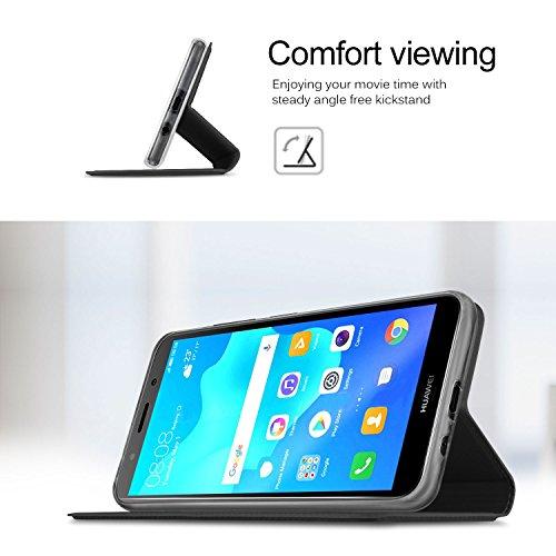 GeeMai für Huawei Y5 2018 Hülle, für Huawei Y5 Prime 2018 Hülle, Premium Hülle Flip Case Tasche Cover Hüllen mit Magnetverschluss Standfunktion Schutzhülle für Huawei Y5 2018 Phone (Schwarz) - 6