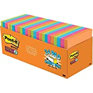 Post-it Super Sticky Notes, 3x3 in, 24 Pads, 2x the Sticking Power, Rio de Janeiro Collection, Bright Colors (Orange, Pink, Blue, Green), Recyclable (654-24SSAU-CP)