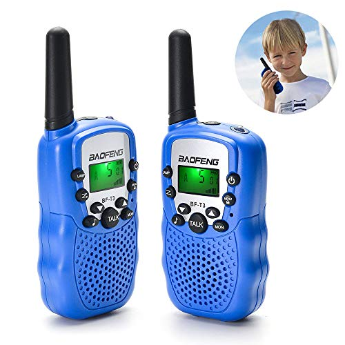 BYBOO Baofeng T3 Kids Walkie Talkies Mini Two Way Radios Toys for Boys Girls Children UHF 462-467MHz Frequency 22 Channels - 1 Pair Black
