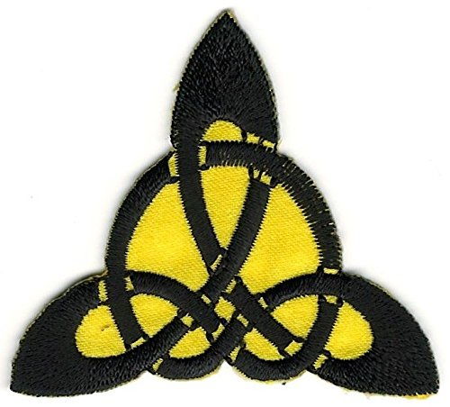 2'' x 2 1/4'' Stylized Yellow Black Celtic Trinity Triquetra Knot Embroidery Patch