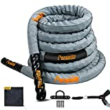 Perantlb Battle Rope with Cloth Sleeve -1.5/2 Inch Diameter 30' 40' 50' Lengths -Gym Muscle Toning...