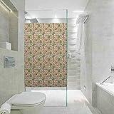 Vinilo para ventana de privacidad con diseño de zorros y setas y flores para el hogar, para el baño, reunión, sala de estar, 17,7 x 35,4 pulgadas