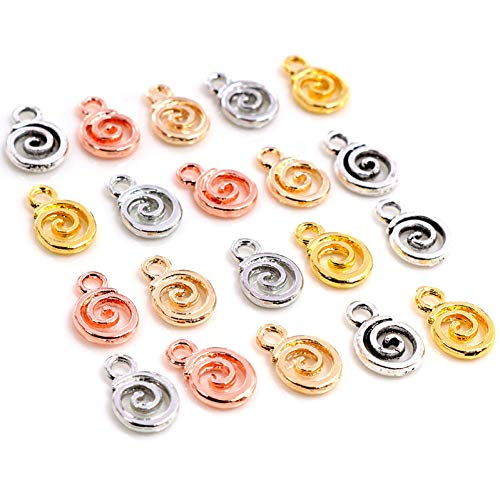 GMYANED 11X8Mm 30Pcs Antique Silver Plated Kc Gold Colors Rhodium Swirl Handmade Charms Pendantdiy for Bracelet Necklace