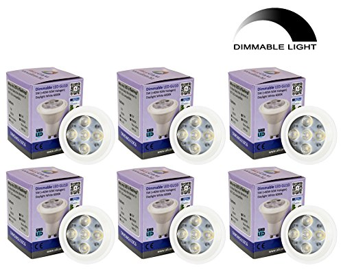 Allcam 6 Pack Dimmable Dimmbar LED GU10 Bulbs 5W Bright Daylight Cool White 6000K kaltweiss, Replace 35-50W Halogen Lights, 48mm Height, Perfect as LED Spotlight or Downlights