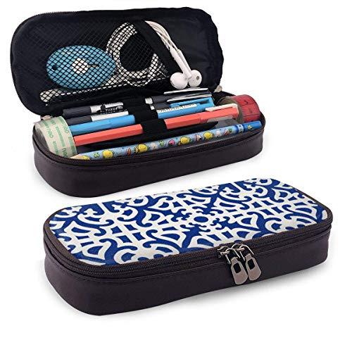 Lawenp Indigo Leather Pencil Case for School Students Office Pen Pencils Box
