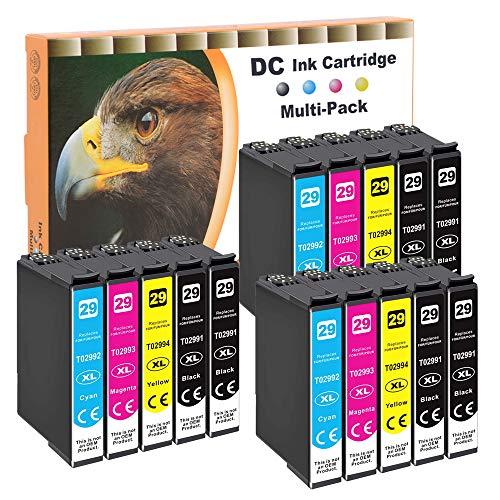 D&C 15x Cartuchos de Tinta Compatible para Epson 29 29XL Compatible con Epson Expression Home XP-235 XP-245 XP-247 XP-255 XP-257 XP-332 XP-335 XP-342 XP-345 XP-352 XP-355 XP-432 XP-435