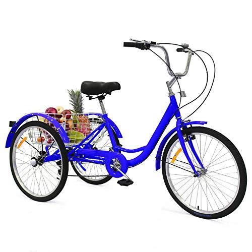 UFLIZOGH Tricycle avec panier et roue de 24'', cadre en alliage, vélo à 3roues pour adultes et personnes âgées, Mixte - Adulte, bleu, 24 pouces