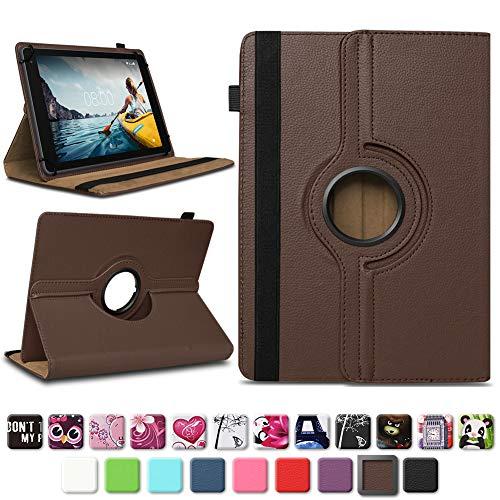 NAUC Medion Lifetab E10604 E10412 E10511 E10513 E10501 Tablet Tasche Hülle Schutzhülle Tablettasche mit Standfunktion 360° drehbar hochwertige Verarbeitung Universal Case Cover, Farben:Braun