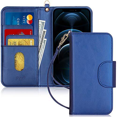 """Fyy Coque pour iPhone 12/12 Pro Fait main PU Cuir Portefeuille Étui de protection antichoc avec [porte-cartes] et [poche pour notes] pour Apple iPhone 12/12 Pro 15,5"""" (2020) Bleu marine"""