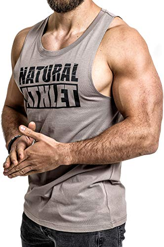 NATURAL ATHLET Herren Muskelshirt - 024 - in Sandfarben I Männer Shirt aus Baumwolle mit Rundhals Ausschnitt I Tank Top Ideal für Sport, Fitness, Gym und Bodybuilding M