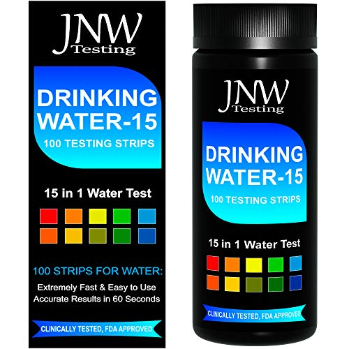Drinking Water Test Strips 15 in 1, Best Water Tester Kit for Fast, Easy & Accurate Water Quality Testing at Home, 100 Count, Free App & Ebook Included