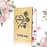 Biglietti di auguri in legno per il regalo della festa della mamma, biglietto di buon compleanno per la madre, migliore mamma del mondo per la regalo di Natale, San Valentino (giallo)