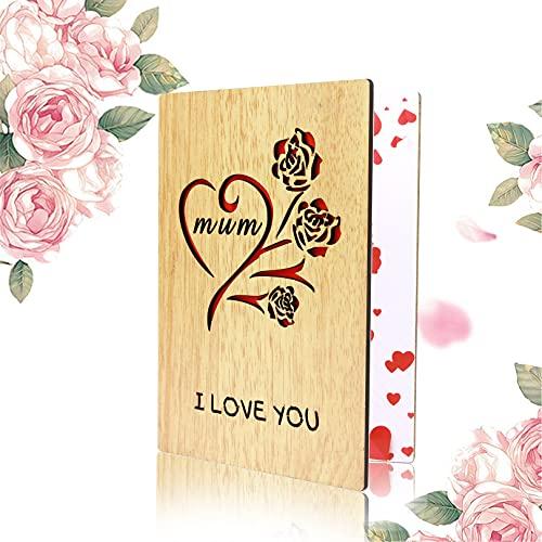 Tarjetas de madera para regalo del día de la madre, regalo de cumpleaños, tarjeta de felicitación para madre, mejor mamá del mundo para el día de la mujer, regalo de Navidad, San Valentín (ama