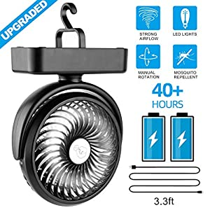Amacool Portable Battery Camping Fan with LED Lantern - Rechargeable 5000mAh Battery Operated USB Desk Fan Kit with Hanging Hook for Tent Car RV Hurricane Emergency Outages