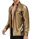 PJ PAUL JONES Mens Luxury Metallic Dress Shirt Sequin Long Sleeve 70s Disco Prom Shirts Gold M