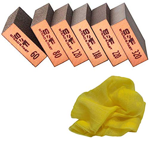 S&F STEAD & FAST Sanding Sponge - Wet Dry Sanding, 60 80 120 180 220 320 Sanding Block Coarse Medium Fine Grit, Fine Sandpaper 6 Pcs for Metal Wood, Drywall Sandpaper Assortment with Tack Cloth Bundle
