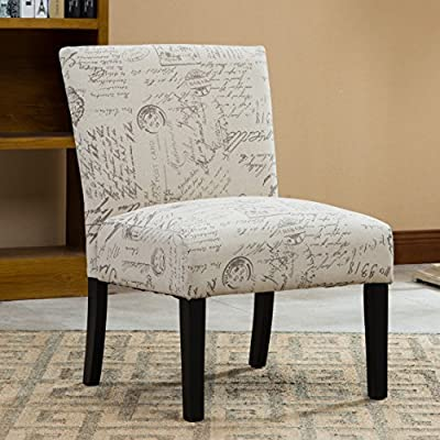Roundhill Furniture Botticelli English Letter Print Fabric Armless Contemporary Accent Chair, Single - Upholstery Material: Polyester Cotton Fabric with Script Pattern. Ready to Assemble The sturdy legs are coated with deep espresso finish. The tight upholstery is carefully crafted to ensure durability and a lifetime of use. It's solidly made of wood frame to offer a solid foundation Upholstery Color: Taupe and Cream. The seat and back are padded for great comfortable feeling. With fanciful French script as the inspiration for its upholstery, Ravity chair speaks volumes - living-room-furniture, living-room, accent-chairs - 511rRIeQQdL. SS400  -