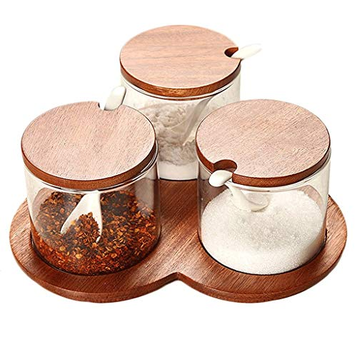XXDTG Condiment Container Seasoning Box Set Glass Condiment Canisters Pots With Wooden Spoon Lid And Base (Size : B)