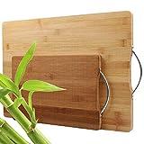 STARVA ST 2Pcs Planche à Découper Bambou - Planche a Decouper Cuisine avec Poignées pour la Viande, Légumes, Pain et Fromage - 44x31CM / 30x20CM