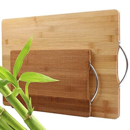 STARVA ST 2 Pcs Planches à Découper Bambou - Durable et Résistante, Planche en Bois Cuisine avec Poignées pour la Viande, Légumes, Pain et Fromage - 44x31CM / 30x20CM - Facile à Nettoyer