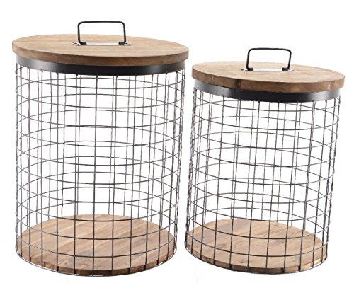 IJzeren mand met houten deksel mand set van 2 groot en klein met handvat en deksel decoratieve mand draadmand opbergmanden decoratie metalen mand opbergmand vulmand