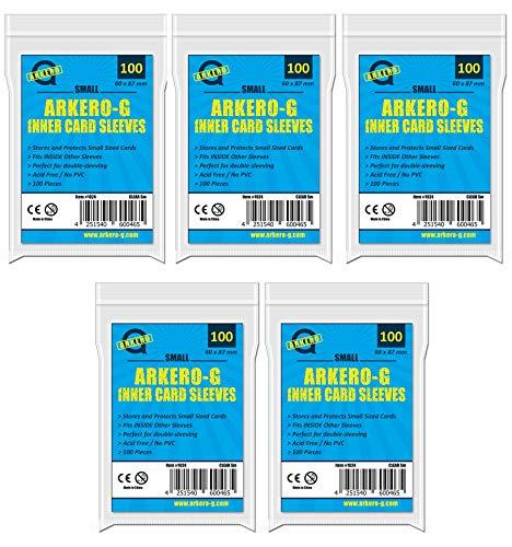Arkero-G 500 Precise Fit Inner Sleeves Small (japanische Größe) - durchsichtige Kartenhüllen speziell für Yu-Gi-Oh! Karten 5 Packungen