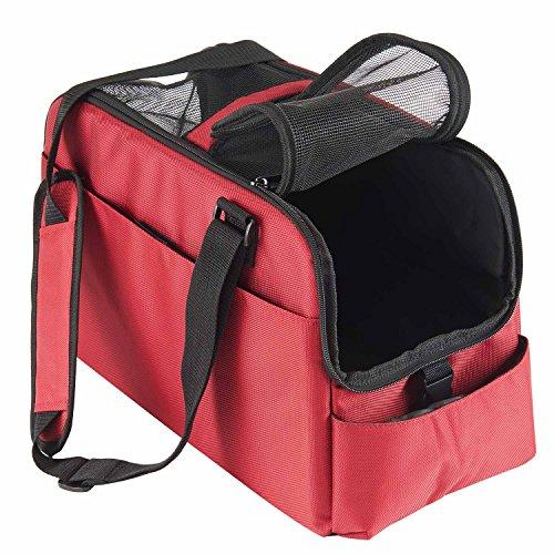 Fluggesellschaft Anerkannte Kabine Weiche Einseitige Haustier Reisewagen Autositz Gepäck Düffel Taschen (Rot)