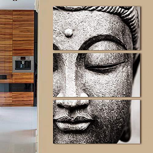 Youna Budista 3 Pintura Decorativa Cabeza de Buda HD Micro-Spray Pintura Decorativa sin Marco 50x100cmx3 Dibuje el núcleo